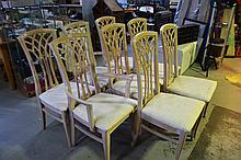 set of 8 lime washed dining chairs