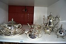 Shelf; collection epns to incl. teapot, milk jug,