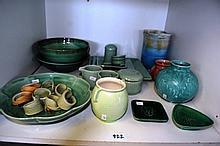 Shelf: assorted pottery incl. English made ribbed