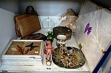 Shelf: miniature quartz clock, vintage doll, retro