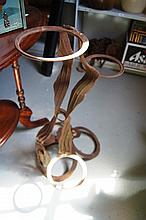1970s wrought iron abstract form plant holder