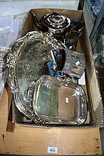 Box of silverware to incl. serving trays, cased