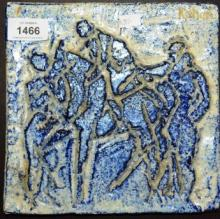 Kahari? abstract figural scene, blue glazed