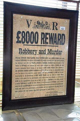 Reward poster for the Kelly gang, framed