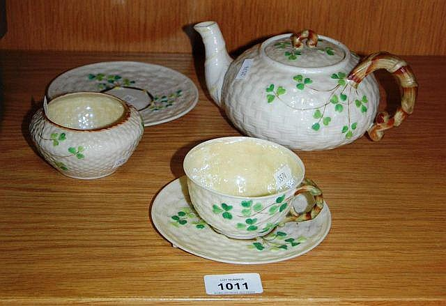 Qty of Belleek porcelain incl. teapot, cup &