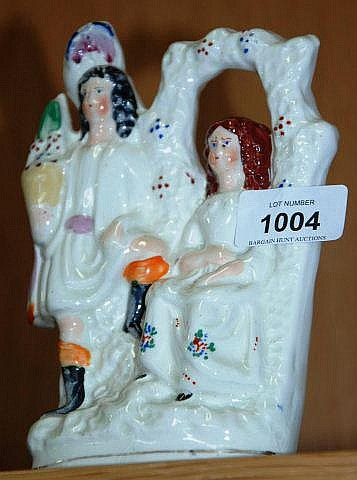 Antique Staffordshire flatback figural group of a