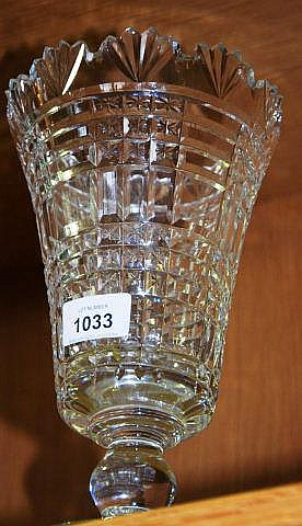 Waterford crystal goblet vase on circular stem