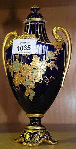 Early Royal Crown derby lidded vase, double