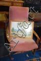 Retro Parker teak framed rocking chair, pink