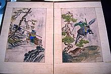 Well painted 4 fold Chinese screen, with hunting