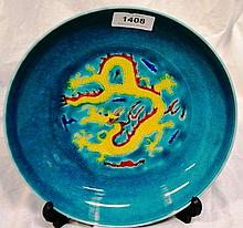 Turquoise crackle glaze dish, decorated with a