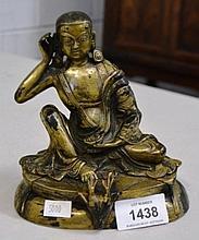 Tibetan bronze figure of Milarepa, 14cm H
