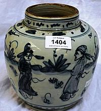 Blue & white ginger jar decorated with scholars in