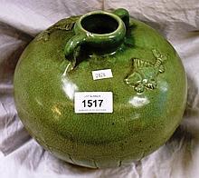 Melon shaped celadon crackle glaze jar, decorated