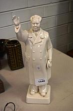 White glazed ceramic figure of Chairman Mao with