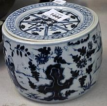 Blue & white covered cricket jar decorated with