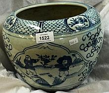 Blue & white jar decorated with children at play,