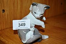 Lladro figurine 'Cat & Mouse' of a seated kitten with a mouse on its tail