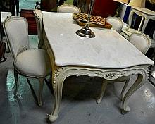 French style dining suite, comprising 5 x damask upholstered dining chairs, and a shaped marble  topped dining table, small chip to side of marble,  on a carved ivory painted base