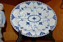 Vintage Royal Copenhagen blue fluted full lace, serving platter numbered 1/1058, 30cm W