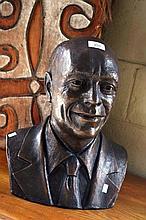 Virginia Lloyd-Tait bronze sculpture, bust of a gentlemen, signed & dated 2010, 40cm H