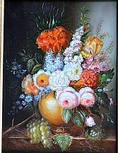 Artist unknown, still life oil on board of flowers signed Roger, 29 x 39cm