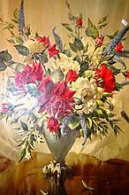 Vernon Ward, oleograph, still life of flowers in a gilded & red velvet frame