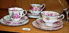 3 various china trios incl. Royal Albert Serena, Royal Albert Old English Rose and Royal Stafford  Berkeley Rose