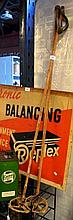 Vintage pair of bamboo & leather ski stocks collectable