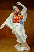 Herend Hungarian porcelain 'Gypsy dancer', of a dancing man in traditional dress, 30cm H