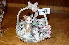 Lladro figural group, 'Purr-fect' basket of kittens and flowers, 13cm H