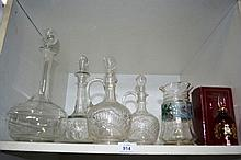 Shelf: glassware to incl. various decanters, Victorian jug, Bohemian ruby glass bell