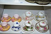 Shelf: teawares to incl. 4 various trios incl. Royal Albert, Royal Standard etc plus coffee cups  & saucers