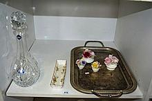 Shelf: to incl. an Edinburgh crystal decanter, Royal Albert 'Moss Rose' tray, large silver plate  serving tray and 4 various porcelain posy  ornaments incl. 2 x by Royal Castle & 2 x Coalport