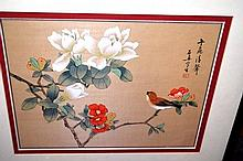 Oriental painting on silk of a bird and flowers with calligraphy, 24.5 x 30cm