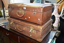 2 vintage Globite style suitcases