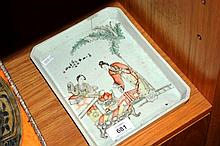 Chinese porcelain tea serving tray with polychrome glaze showing two figures having tea with  calligraphy, has a hairline crack and repair, red  stamp character mark to base, 22.5cm L