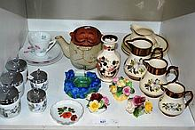 Shelf: graduated set of 3 Wade jugs, copper lustre finish, 5 various Royal Worcester egg coddlers, 3  posy ornaments incl. Royal Doulton etc