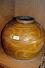 Large Chinese glazed storage pot with image of dragon and calligraphy, 30cm H