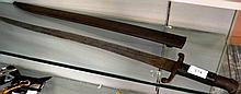 Antique long steel sword bayonet, curved blade, complete with  matching metal scabbard