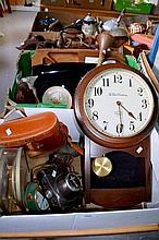 2 boxes of sundry items, incl. wall clock, binoculars, camera, hunting horn, treen etc