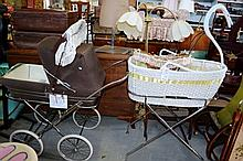 3 vintage items incl Silver cross baby pram, swan form bassinet and a doll pusher with wooden  base
