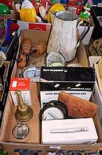 2 boxes incl. collection of alarm clocks, vintage enamel jug, binoculars etc.