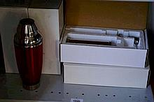 4 boxed, as new items incl. 2 red stainless steel cocktail shakers and 2 boxed bench mountable soap  dispensers