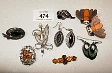 Job lot incl. brooches, earrings, marcasite and New Zealand nephrite vintage brooch, sterling  silver blue sapphire set brooch etc