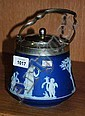 Wedgwood Jasper Ware blue & white lidded biscuit