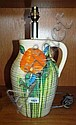 Clarice Cliff lamp base, large ewer form 'Delecia'