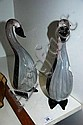 Pair of modern art glass bird figurines