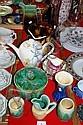 Various pottery jugs, vases, teapots, sugar bowls