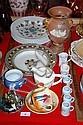 Various plates, cups, saucers, milk jug, sugar